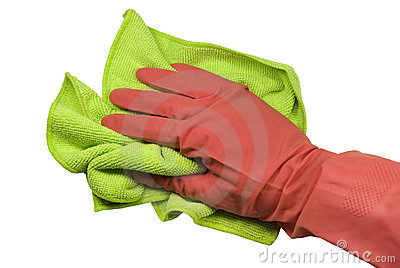 Hand in a glove with a rag