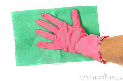 Hand in glove with rag