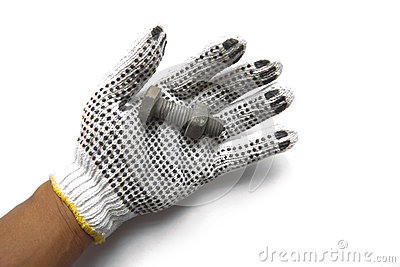 Hand gloves and steel nuts on white background