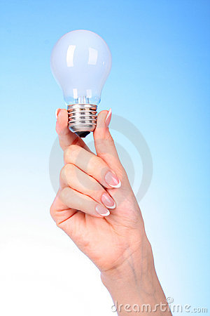 hand with glow lamp