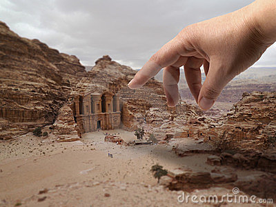Hand of god at Petra ruins