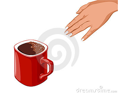Hand goes to the red cup