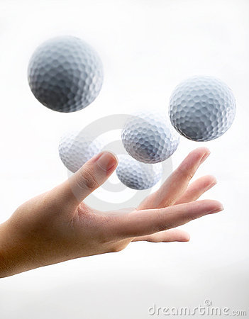 Hand with golf-ball