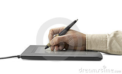 Hand on graphic tablet.