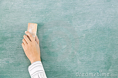 Hand on green chalk board