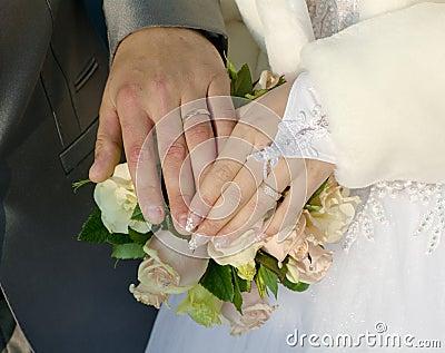 Hand of groom and fiancee