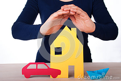 Hand Guarding House, Car, Boat Stock Photo