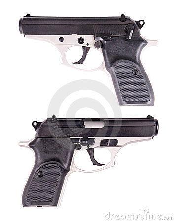 Hand Gun or Handgun, Pistol, Weapon Isolated White