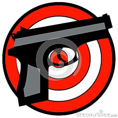 Hand gun with target