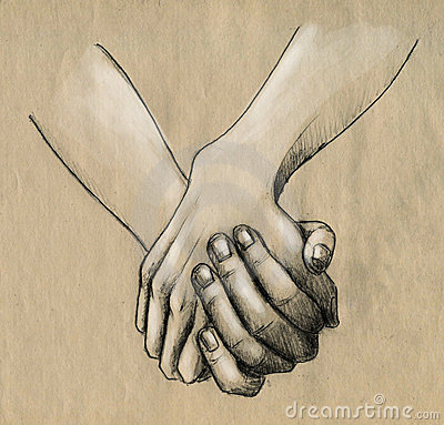 Two Hands Holding Pencil Drawing Sketch