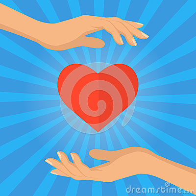 Hand and heart - love giving concept vector flat illustration. Vector Illustration