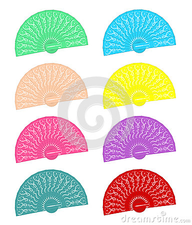 Hand held fans in different colours