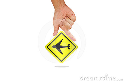 Hand hold airplane sign