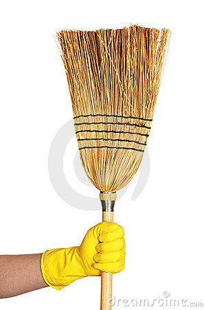 Free Hand Hold Broom Royalty Free Stock Image - 9946136
