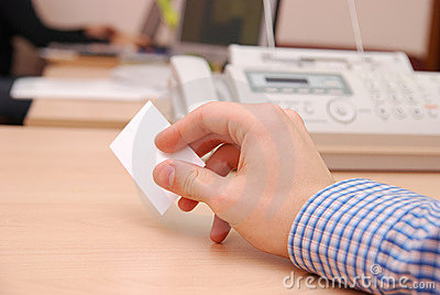 Hand hold business card