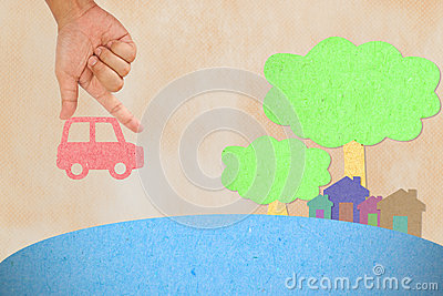 Hand hold car to village