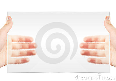 Hand hold display. Blank empty copy space