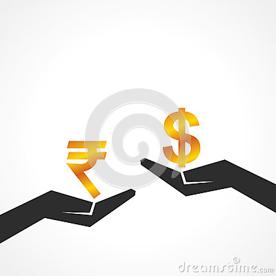 Hand hold dollar and rupee symbol to compare their