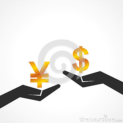Hand hold dollar and yen symbol to compare their value
