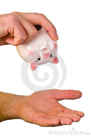 Hand hold an empty piggy bank