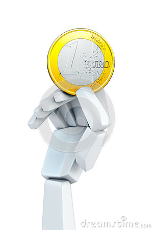 Hand hold euro coin