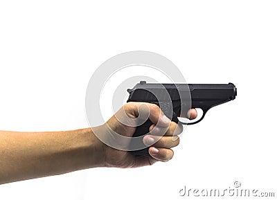 Hand hold gun firing