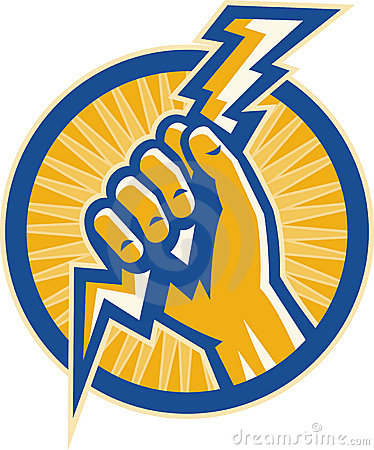Hand hold a lightning bolt of electricity