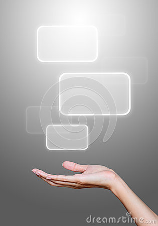Hand hold media icons