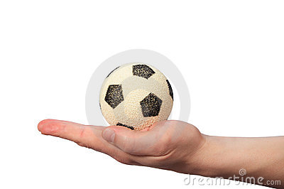 Hand hold soccer ball