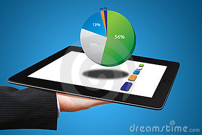 The hand Hold tablet computer and pie chart