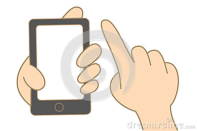 hand hold and use touch screen mobile phone