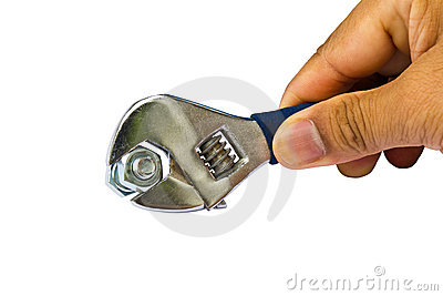Hand hold wrench to tighten nut on white