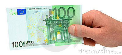 Hand holding 100 euro