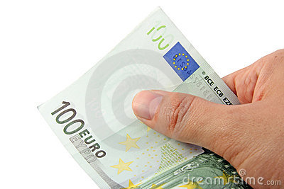 Hand holding a 100 euro bill