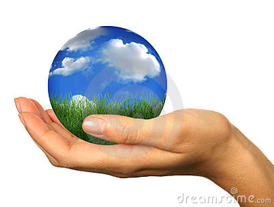 Hand Holding a 3D Globe Landscape Planet Earth