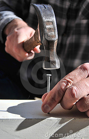 Free Hand Holding A Hammer And Nail Stock Photography - 16605422