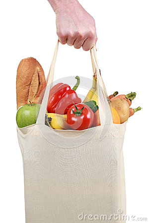 Free Hand Holding A Shopping Bag Filled With Groceries Royalty Free Stock Photography - 28732367