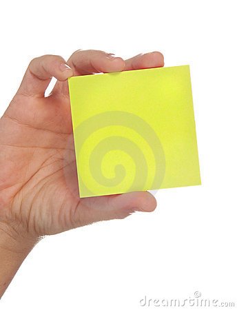 Free Hand Holding A Yellow Note Stock Photography - 8815772