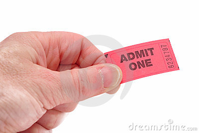 Hand Holding Admit One Ticket