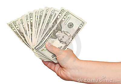 Hand holding american money on a white background