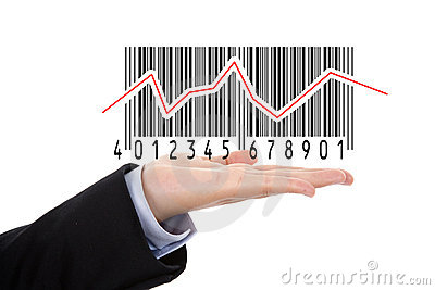 Hand holding barcode illustrating the stock market