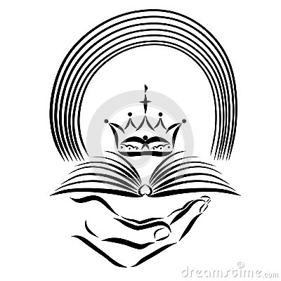 Hand holding the Bible, crown and rainbow, revelation Stock Photo