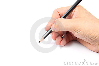 Hand holding a black pencil
