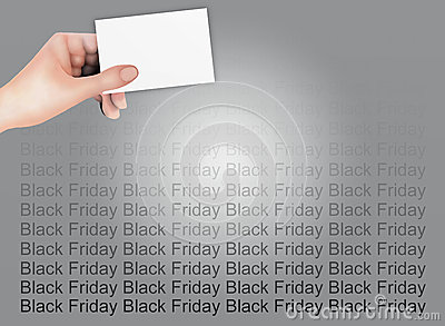 Hand Holding A Blank Card on Black Friday Backgrou