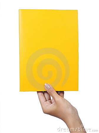 Hand holding a blank paper yellow