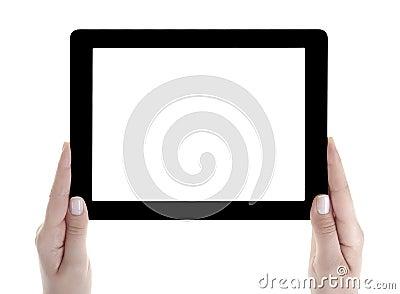 Hand Holding blank screen Digital Tablet