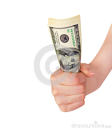 Hand holding a bundle of money