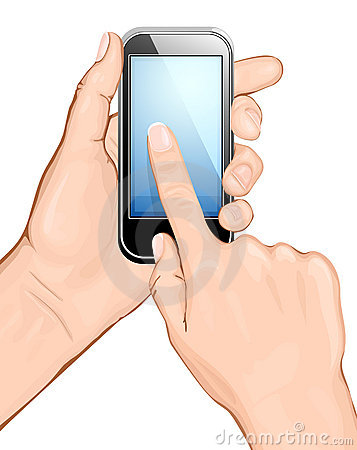Hand holding cellular phone and touching the scree