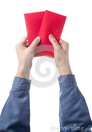 Free Hand Holding Chinese Red Envelope With Money Isolated Over White Background. Stock Photos - 49050613