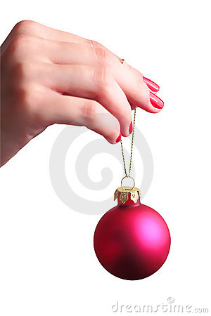 Hand holding a Christmas ball